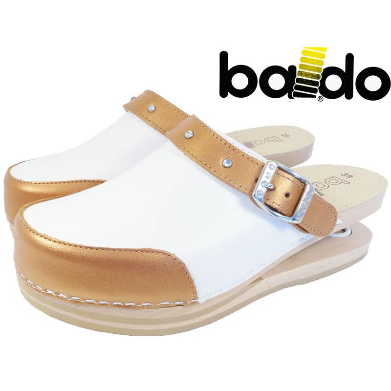 Zoccoli Baldo bicolor bianchi/bronzo con elegante cinturino con brillantini, dotati di molla e plantare imbottito per un maggiore confort ai piedi