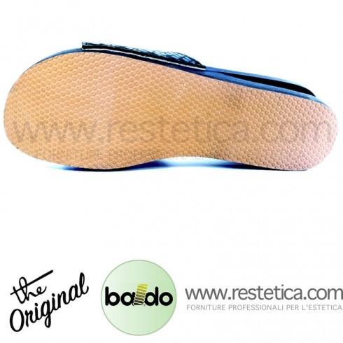 Zoccolo Baldo 20/81 a fascia FLEX nero effetto RETTILE con laccio, dotati di molla e plantare imbottito per un maggiore confort ai piedi