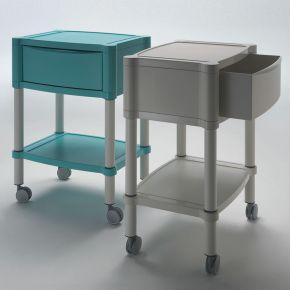 Carrello porta attrezzi studio medico estetico, con ripiano antiscalfiture ed antigraffio e cassetto di servizio