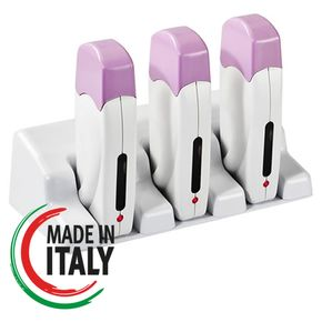 Scaldaricariche triplo professionale roll-on con 3 manipoli inclusi per cartucce cera da 100ml