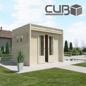 Casetta in legno CUBO design per area relax e zen, zona fitness, spogliatoio piscina, hobby house e office garden
