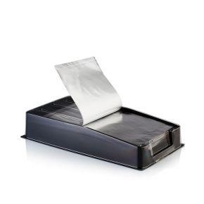Clear Foil è un pratico dispencer di fogli di alluminio per meches pronto all'uso – confezione 100 fogli 20 x 12 cm