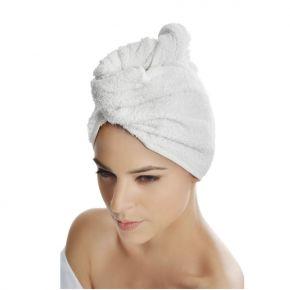 Turbante in spugna per capelli 100% cotone Colore: bianco