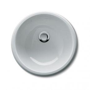 Lavandino tondo smaltato bianco da incasso per mobile - diametro 33,5 cm
