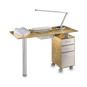 Tavolo manicure in vetro temperato TOP GOLD completo di lampada design, cuscino poggiamani e portasmalti.