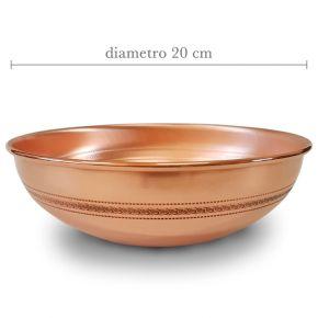 Ciotola raccogli olio in rame ideale per shirodhara - diametro 20cm e altezza 8cm