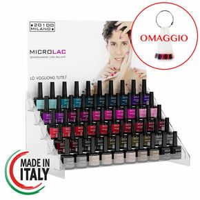 Espositore completo di Gel Polish + Base Top Coat marca Microlac 20100 Milano per un totale di 75 pezzi