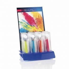 Espositore da banco Be Beauty con pinzette oblique per sopracciglia colorate ideale per la rivendita - n.24 pezzi colori assortiti