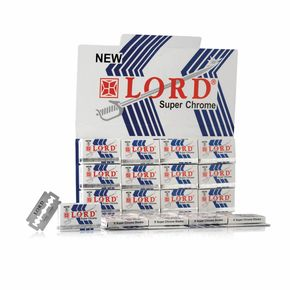 Espositore da banco di lame da barba Lord Super Chrome – n.20 blister da 5 lame in acciaio di alta qualità rivestite al cromo