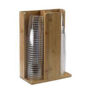 Portabicchieri per buffet in legno naturale 2 scomparti misura 21x11x30 cm