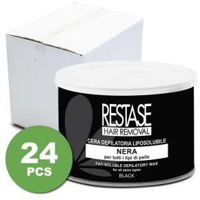 Cera liposolubile NERA per tutti i tipi di pelle in vaso da 400 ml - scatola da 24 vasi