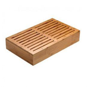Griglia tagliare in bamboo con vaschetta per raccolta briciole misura 53x32,5x4 cm