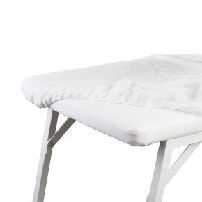 Telo coprilettino in spugna di cotone bianco con angoli elastici, dimensioni 100X200 cm