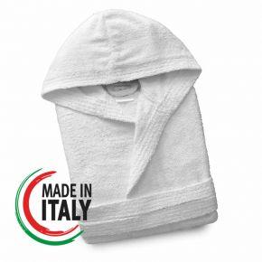 Accappatoio con cappuccio e cintura WHITE filato in cotone 100% Made in Italy anonimo o personalizzabile con logo
