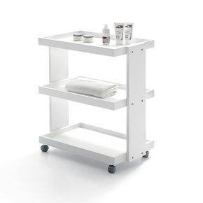 Trolley with three shaped shelves made of birch plywood with matt white lacquered finish - dimensions 60x42x80h cm