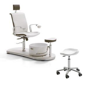 Postazione lavoro Manicure + Pedicure completa di poltrona, vasca per pediluvio e sgabello operatore