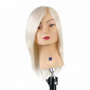 Testa studio medio corta, 100% capelli di angora ultrachiarissimo, ideale per le prove colore