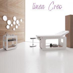 Cabina completa (  Lettino + Carrello + Sgabello + Set specchi ) per trattamenti estetici Linea CREO by Vismara