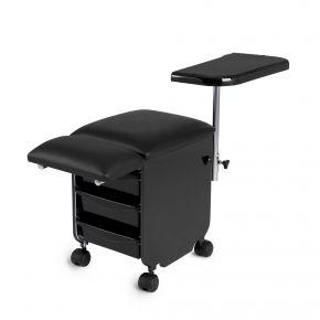 Carrello Pedicure a 3 cassetti con tavoletta appoggiabraccio e poggiapiede colore Nero - cod. RE19H914N