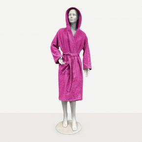 Accappatoio unisex Fuxia per uso professionale con cappuccio, tasca e cintura - Taglie disponibile S M L XL personalizzabile con logo