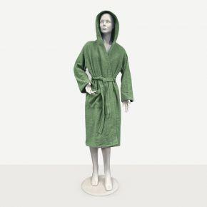 Accappatoio unisex Verde Salvia per uso professionale con cappuccio, tasca e cintura - Taglie disponibile S M L XL personalizzabile con logo