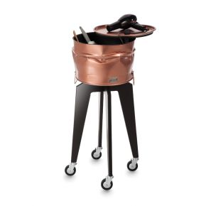 Hairdresser trolley CRASH by Artecno varnished metal container with swivel top