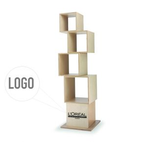 Modular unit display with 5 boxes of different size that can be fixed together at will