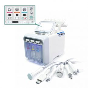 Multifunction digital instrument 6 beauty treatments: bipolar radiofrequency, ultrasound, skin scrubber, spray, hydrodermoabrasion and cold hammer