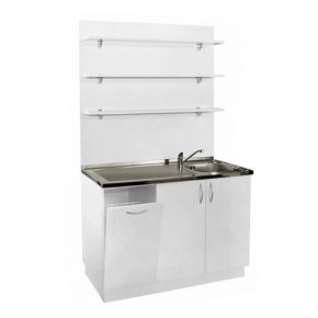 Service cabinet with basin and water tap