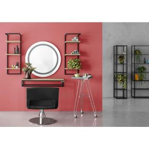Shelf LOFT by Artenco varnished steel top: wengé wood