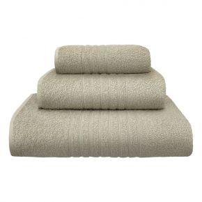 Set asciugamani Plissè in morbida spugna di cotone color beige - 400g/m² uso professionale made in Italy