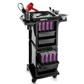 Professional cart with hairdryer holder