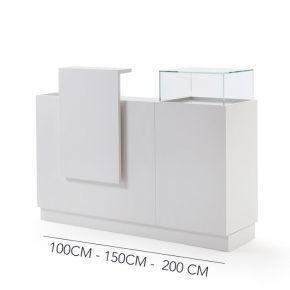 Elegante banco cassa in nobilitato bianco lucido componibile con vetrine lunghezza da 100cm a 200cm