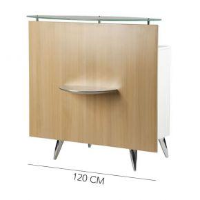 Banco Cassa in legno con piano porta borse in alluminio