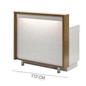 Banco Cassa per zona Reception con elegante cornice in legno e frontale retroilluminato