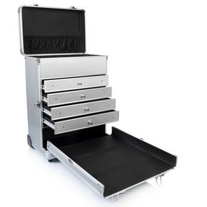 Box valigia trolley porta trucchi make-up in alluminio