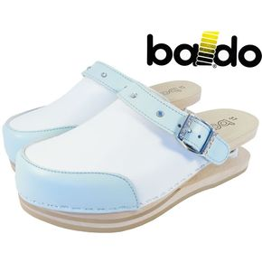 Closed Baldo Clogs with strap - White/Sky Blue