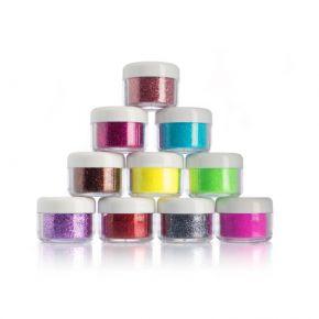 Espositore 10 colori glitters per nail-art