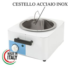 Wax heater for hot wax equipped with thermostat and wire basket