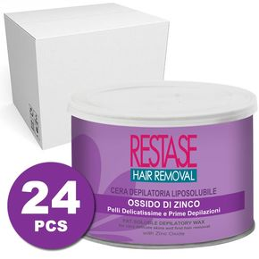 Cera per pelli delicatissime e prime depilazioni all'ossido di zinco in vaso da 400 ml - scatola da 24 vasi