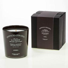 Candela Profumata all'Ambra in bicchiere verniciato lucido con serigrafia, in confezione regalo - 300ml per 100 ore di durata