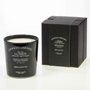 Candela aromatica al Bergamotto in bicchiere verniciato lucido con serigrafia, in confezione regalo - 300ml per 100 ore di durata