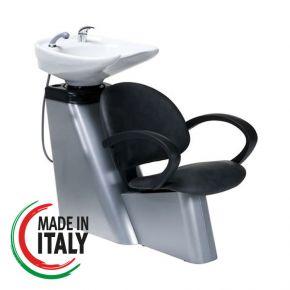 Poltrona con lavatesta per parrucchiere con lavandino basculante in ceramica  completo di miscelatore e doccetta