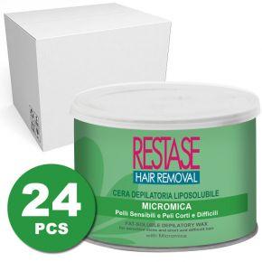 Cera liposolubile Micromica per pelli sensibili e peli corti e difficili da 400 ml - scatola da 24 vasi
