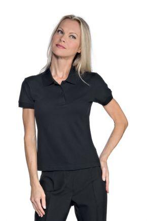Polo donna mezza manica tessuto stretch 95% cotone 5% spandex 200 gr/m2 colore nero cod.- RE125101