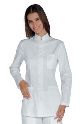 Casacca manica lunga bianco con bottoni a pressione - cod. 002800