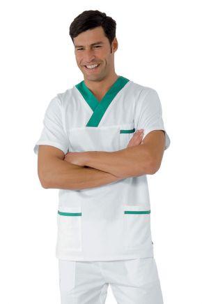 Casacca UNISEX collo a V bianco+verde