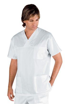 Casacca Uomo collo a V 65%poliestere, 35% cotone bianco - cod. RE045700
