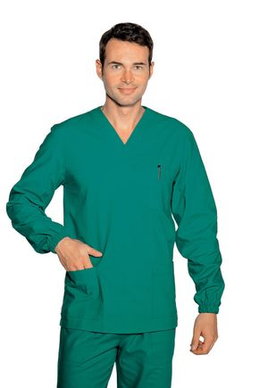 Casacca UNISEX collo a V verde chirurgia manica lunga