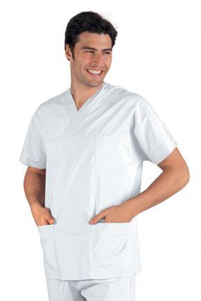 Casacca Uomo Collo a V 100% cotone colore bianco - cod. RE045000